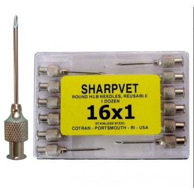 Sharpvet Round Hub Hypodermic Needles - reusable - 16 x 5 - 1.6 x 130 mm